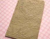 20 Small Kraft Paper Bags Embossed Paris Postmark 3 1/4 x 5 1/4 inches