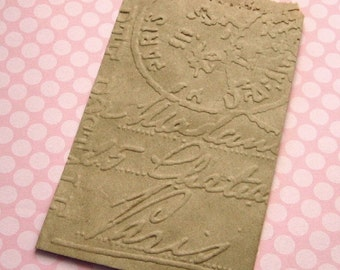 20 Small Kraft Paper Bags Embossed Paris Postmark 3 1/4 x 5 1/4 inches