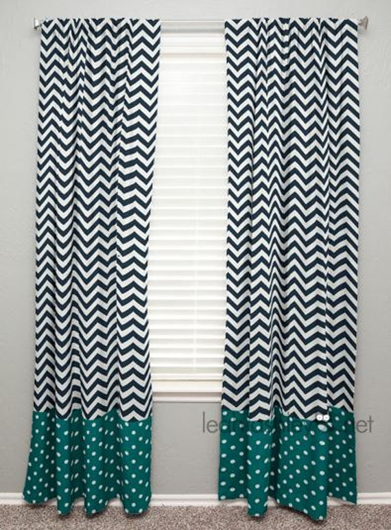 curtain panel with banding navy chevron teal by leahashleyokc