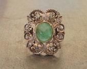 Antique Georgian Ring-Green Tourmaline Rose Cut Diamond Ring - Gemstone Ring- Statement Ring-Right Hand Ring-1800s Ring-Chunky Promise Ring