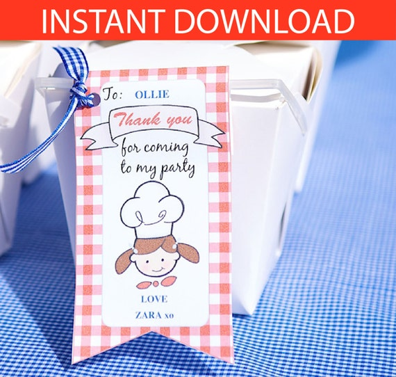 Girl Mini Chef Party DIY Printable Kit - INSTANT DOWNLOAD
