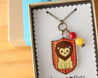 Brave Lion Necklace. House Pride Charm, Book Lovers, Red Acrylic Jewelry, Laser Cut Necklace, Cute Lion Charm, Animal Pendant, Wearable Art
