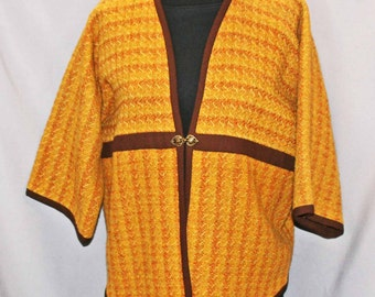 Gold wool hand woven jacket, gold folk style jacket handwoven wool