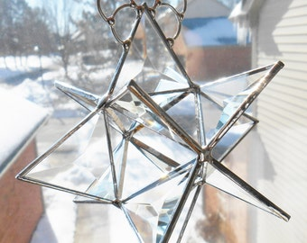Stained glass beveled Moravian Star 3d prism suncatcher