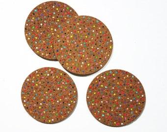 Rainbow Dot Cork Coaster Set -