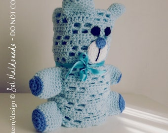 Crochet Blanket Pattern PDF - Bear amigurumi toy & security blanket - newborn, nursery gift baby blankie -  Instant DOWNLOAD
