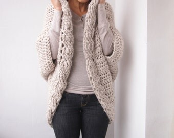 Crochet Pattern cable women shrug  bulky coat cardigan,  plus size cardigan braided sweater, DIY tutorial, Instant download
