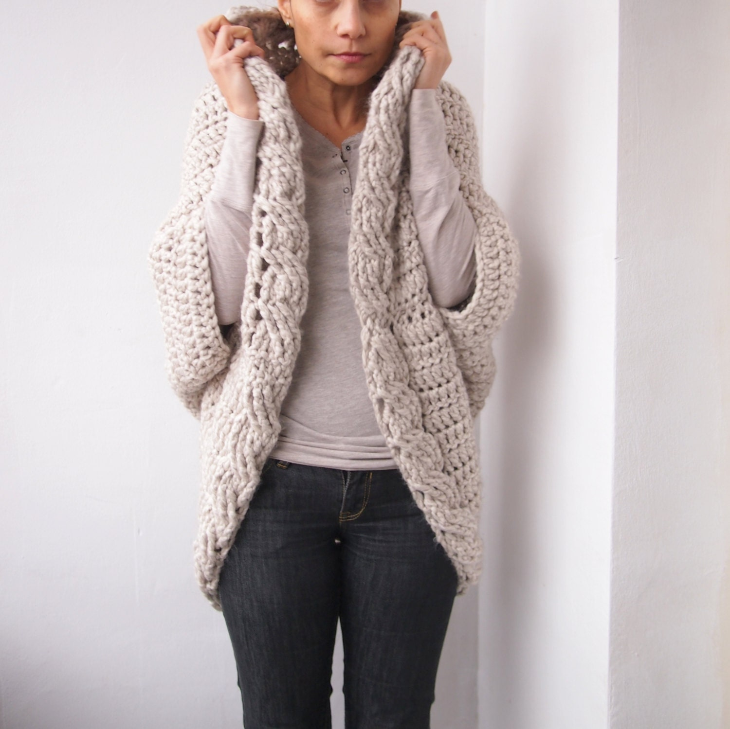 Free Crochet Pattern For Cabled Sweater : Crochet Pattern cable women shrug bulky coat cardigan plus