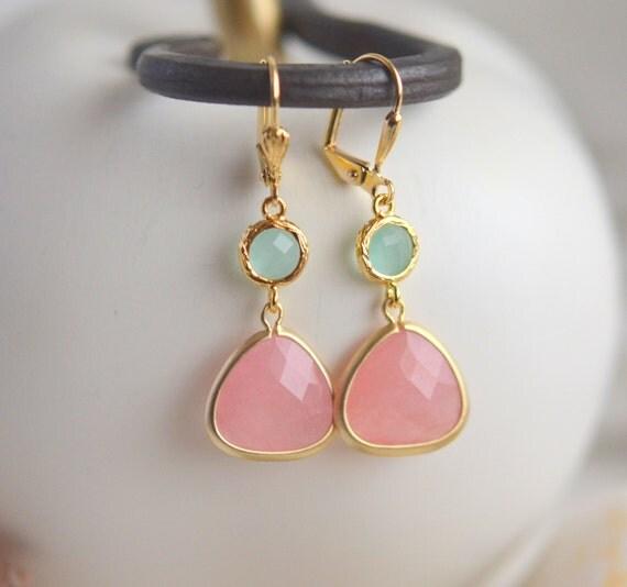 Coral Pink Teardrop and Aqua Jewel Dangle Earrings in Gold. Gift. Bridesmaid Earrings. Drop Earrings. Holiday Jewelry. Christmas Gift.