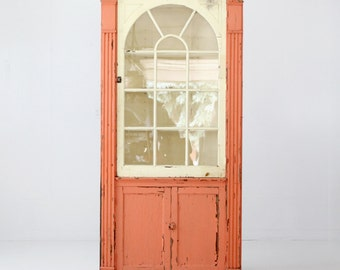 antique corner cabinet, painted china cabinet, primitive cupboard