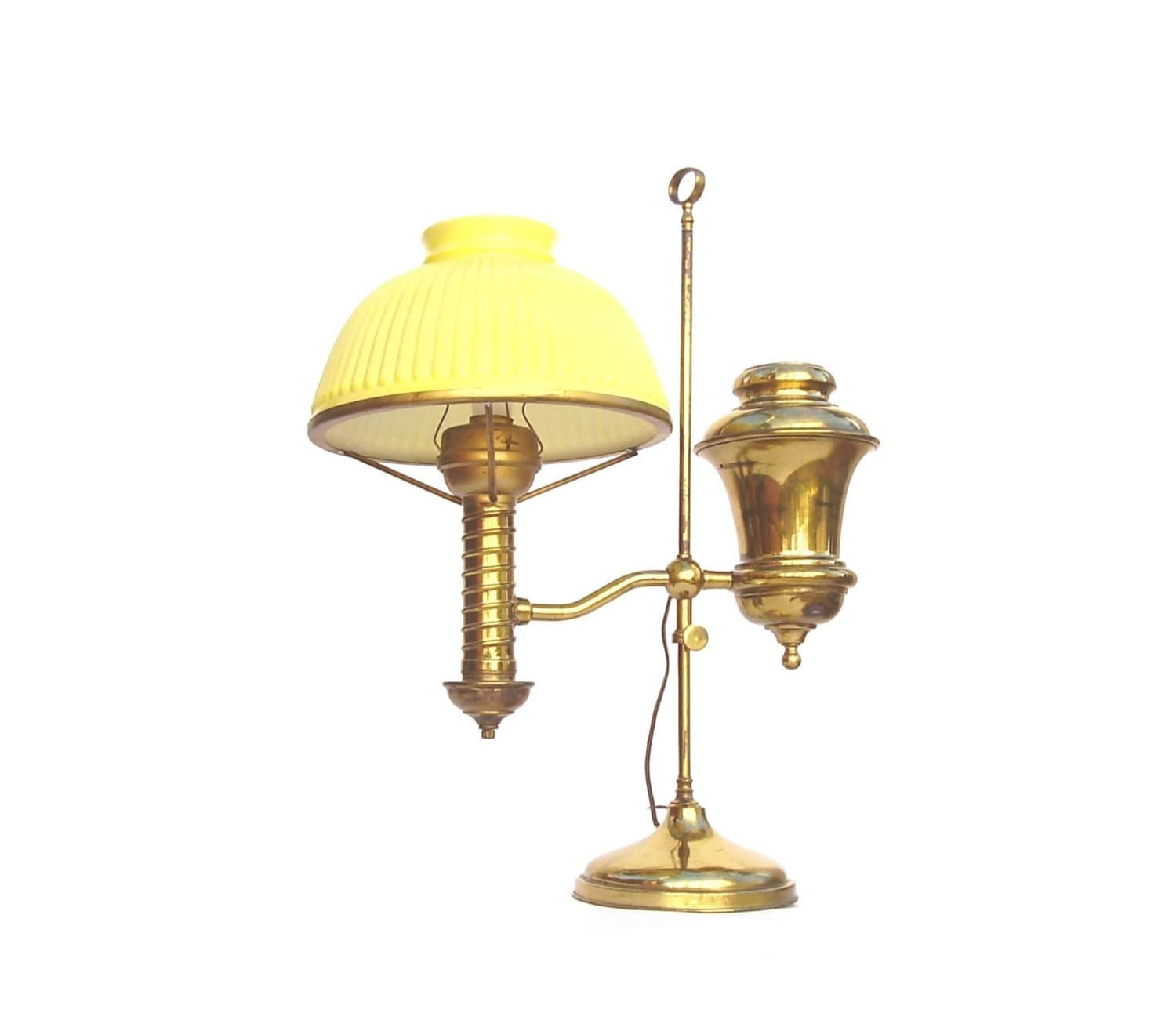 Balmoral Tall Pedestal Lantern Light Antique Brass: Antique Brass Lamps Student Lamp Vintage Electrified Oil
