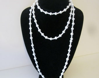 Milk Glass Beads Flapper Style Extra Long Vintage Necklace