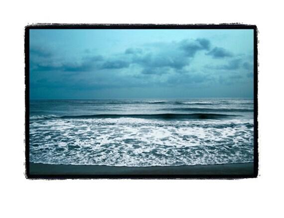 nature photography, Beach, ocean photography, nature, Summer, Solitude, Sea,Teal, Blue, Ocean, Waves, Stormy ,Fine Art Print 8x10