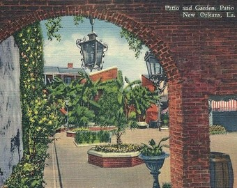 Vintage 1940s New Orleans Louisiana Postcard Patio Royal
