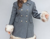 Vintage 1960's Coat - Annouschka - Lovely Gray Wool Princess Coat with Faux Fur Trim