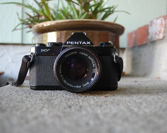 VTG Camera All Black Asahi Pentax MV 35mm Manual Film Camera Movie Director Photagraphy Student Antique Photo Pictures Old Camera Hipster