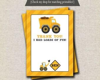 Dump Truck Thank You Card   Construction Thank You Card   Construction Party Printables - digital
