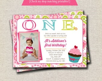 Cupcake Invitation | Bright Cupcake Invitation | Cupcake Invite | Paisley Invitation | Cupcake Party Printables