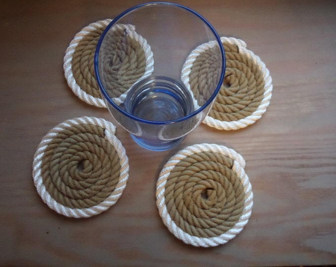 Set of 4 Rope Coasters / Khaki with White/ Nautical/  RE-PURPOSED Rope Alaska