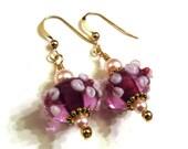 Purple & Pink Floral Lampwork Earrings With Pink Swarovski Pearls