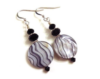 Black & White Shell Earrings, Black Swarovski Crystals, Black Earrings, White Earrings, Sterling Silver