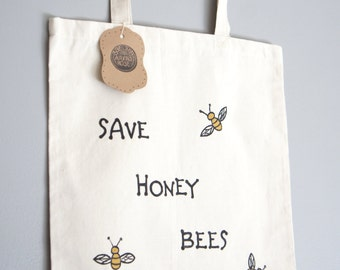 Save Honey Bees Tote Bag - Hand Painted Raw Cotton Tote Bag - Honey Bee Awareness - Save Bees Quote Canvas Tote Bag - Reusable Grocery Tote