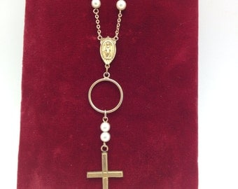 Gold Cross Necklace Vintage Religious Necklace assemblage necklace