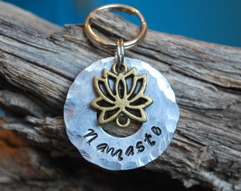 Pet ID Tags / Pet Tag / Dog Tag / Silver Dog Tag / Lotus / Namaste
