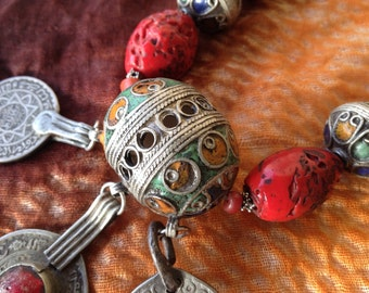 Berber Tagmout Eggbeads, with old Coins and howlite,  Morrocan Sahara