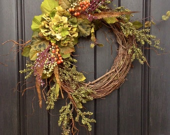 Fall Wreath Thanksgiving Wreath Green Berry Branches Twig Grapevine Door Wreath Decor Green Hydrangea Feathers, Monogrammed Decoration