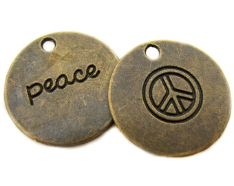 Bronze Charms : 10 Antique Bronze Stamped Peace Charms | Brass Ox Peace Round Coin Pendants ... Lead, Nickel & Cadmium Free 04903.J3L