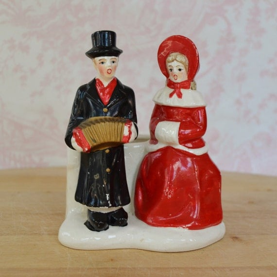 Singing Carolers Candleholders Figurines Vintage By: Vintage Carolers Christmas Ceramic Planter By NevermoreVintage