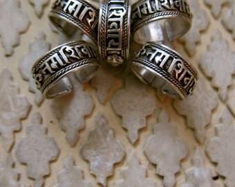 Sanskrit Ring/ Om Namah Shivaya Ring/Wide Band Ring/Sterling Ring/ Buddhist Ring/Shiva Ring/ Mantra/Bhakti /Indian Ring/Hindu Ring