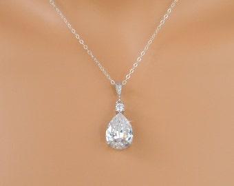 Crystal Bridal Necklace, Crystal Wedding Pendant, Rose Gold Bridal Jewelry, Swarovski, Bridesmaid jewelry, Lilliana Crystal Necklace