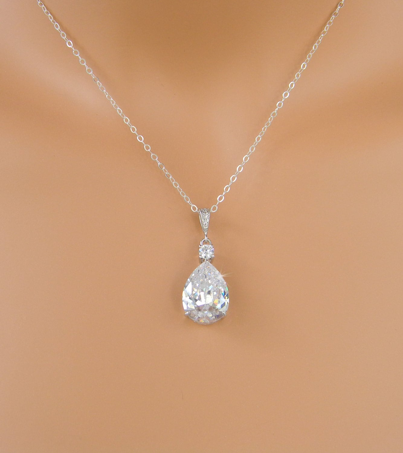 Crystal bridal necklace crystal wedding pendant rose gold for Swarovski jewelry online store