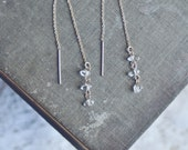 herkimer diamond drop threader earrings.