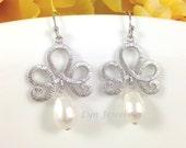 Silver Lotus Earrings - White Swarovski Pearl Teardrop Dainty Bridesmaids Earrings - Wedding Bridal Graduation Prom Jewelry