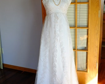 Vintage wedding dress with layered embroidered organza overlay romeo juliet ever after gown