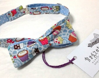 Cup Cake Bow Tie - skinny style / for her / self tie / French bowtie chic from Bagzetoile / ships worldwide