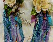 Hair Fall, Shell, Yarn, Feather, Burning Man, Tribal Belly Dance, Hair Accessories, Fairy, Purple, Aqua Blue, Halloween