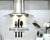 Kitchen Vinyl Decal Bon Appetit with Knife Fork and Spoon Vinyl Lettering