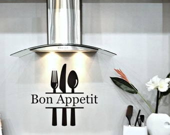 Kitchen Decor, Vinyl Decals for Kitchen, Bon Appetit Wall Decal, Knife Fork Spoon Decal for Kitchen, Gourmet Kitchen Decal, Wall Decals