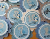 Monthly Milestone Tags: Blue and Grey Penguin- photo banners photo prop, 1st birthday, memory banner, memory book, babyshower -Onederland