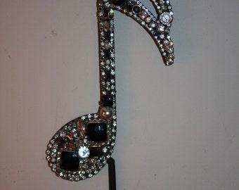 Black Treble Clef Embellished Musical Wall Hook