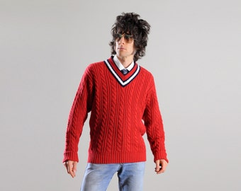 vintage sweater 80s preppy v-neck tennis sweater red white blue Grant Thomas cotton cable knit extra large XL Lucky 7