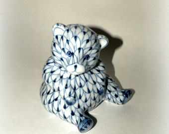 Figurine- TEDDY BEAR- Blue White- Hand Painted- READY to Ship- Dots- Collect- Country Decor