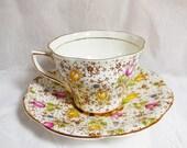 Vintage Rosina June Floral Teacup & Saucer - English Bone China