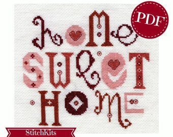 Home Sweet Home, Cross Stitch Chart Download, PDF. Contemporary Cross Stitch Design By Ruth Caig