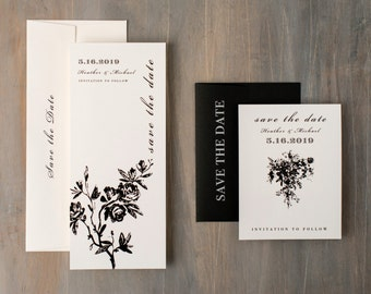 """Modern Save the Dates, Wedding Save the Date Cards, Modern Black and White Save the Dates - """"All Black"""" Save the Dates"""