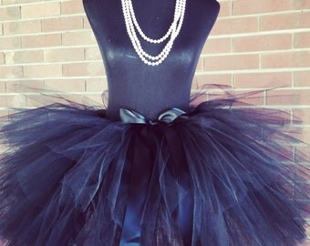 Solid Black Adult Tutu, Bridal Tutu, Bachelorette Tutu, Adult Tulle Skirt ,Adult Cake Smash Tutu, Bridesmaid Tutus for waist up to 34 1/2""